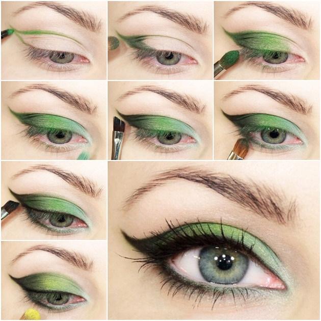 Макияж глаз зеленого