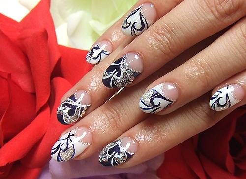 Черно белые ногти